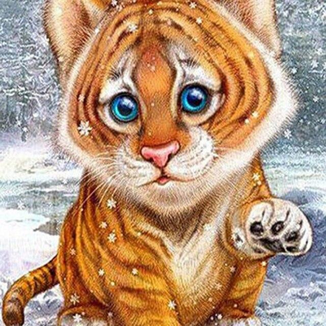 diy diamond paintings cute tigers embroidery mosaic diamonds paste