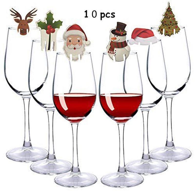10pcs/set Christmas Glass Sign Flag Christmas Hat Toothpick Flag Food Decoration Christmas Ornaments