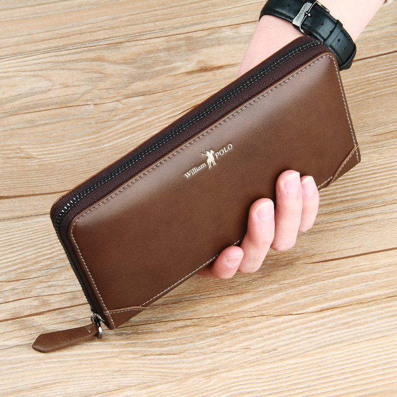 WILLIAMPOLO Vintage Long Wallet Men Genuine Leather Clutch Wallet Hand Strap Purse For Male Cowhide Clutches Gife Box Fashion