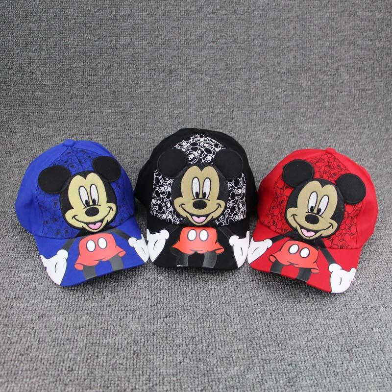 New lovely Cartoon boys girls hats Children Baseball Cap Summer M LOGO Cap Kids Snapback Caps Mickey Minnie Cosplay Hat 2016 fashion kids cartoon snapback caps flat brim child baseball cap embroidery cotton cap baby boys girls peaked cap