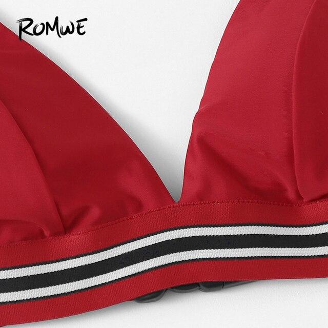 Romwe спорт красный комплект из 3 предметов пакет бикини комплект полосатой отделкой Треугольники бюстгальтер с трусиками и Пляжные шорты Для... 3