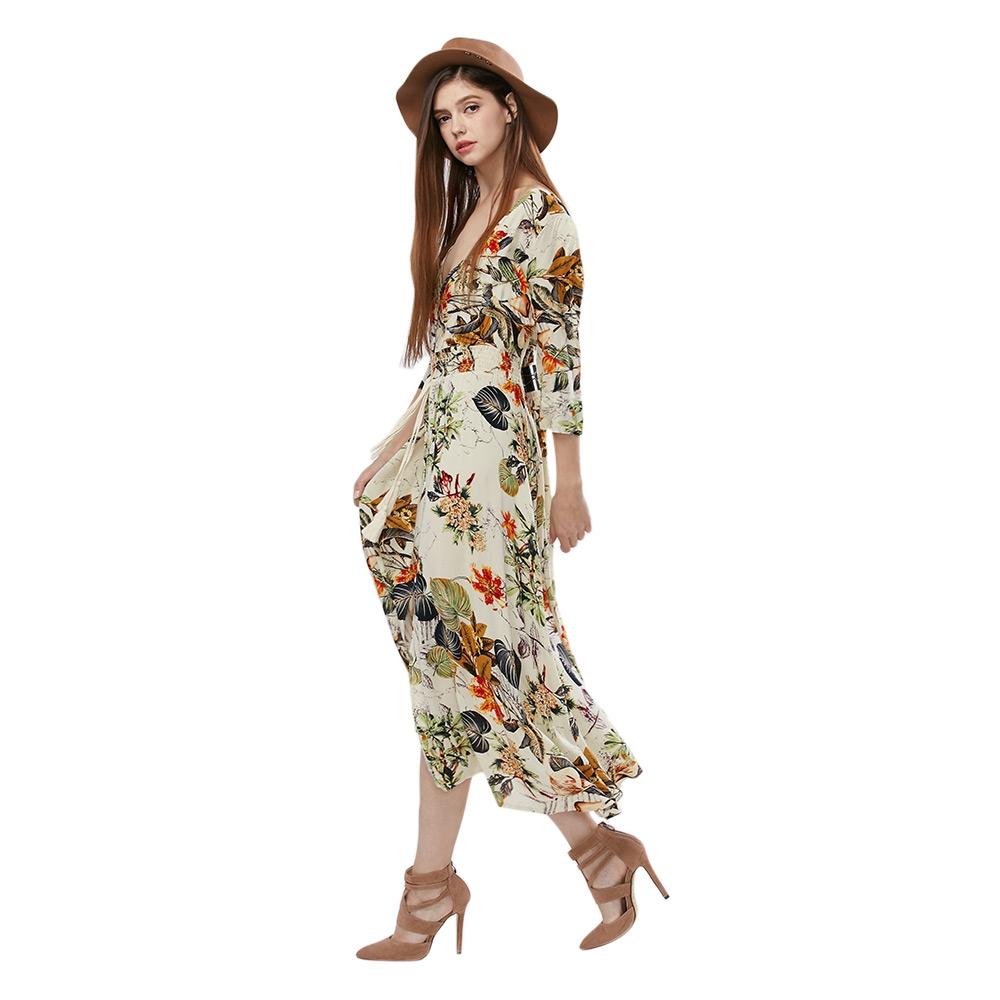 VESTLINDA Vintage Dress Allover Floral Print Elestic Waist Split Long Dress V Neck 34 Sleeve Robe Femme Women 2017 Summer Dress 4