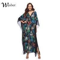 Weljuber Women Boho Maxi Dress 2018 Batwing Sleeve Bohemian Long Dress Flower Print Beach Loose Vintage