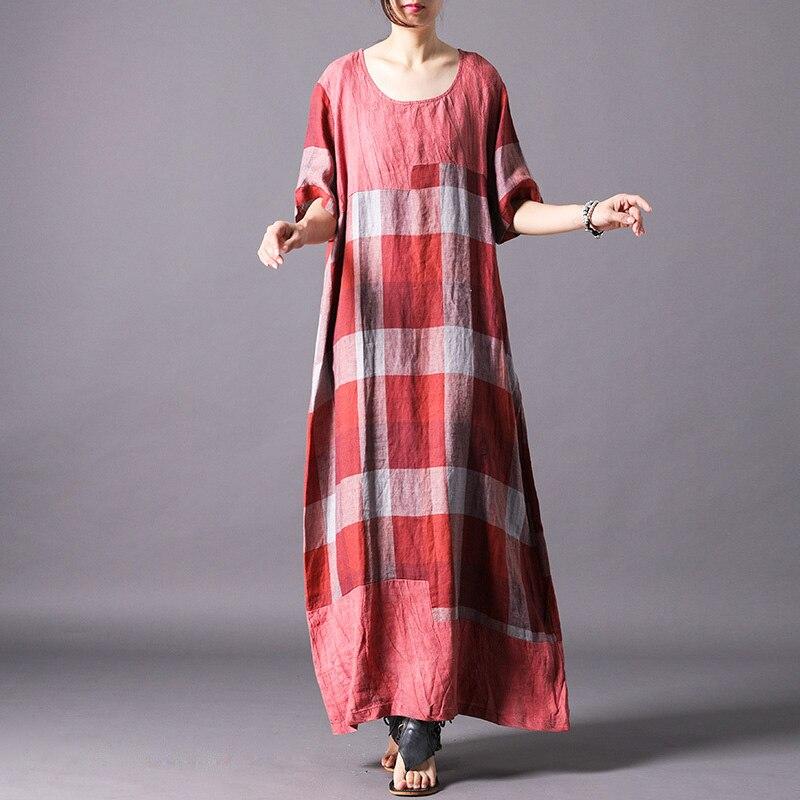 Johnature Women Cotton Linen Dress 2019 Summer New O Neck Short Sleeve Vintage Robes Soft Women