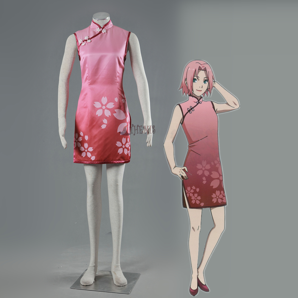 Athemis new NARUTO Haruno Sakura Cosplay Costumes cosplay dress naruto sakura haruno cosplay boots shoes mp001015