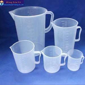 Image 4 - 1 pz 5000 ml di misurazione di plastica lab becher con maniglia Trasparente di Plastica Bianca Tazza Di Misurazione Becher