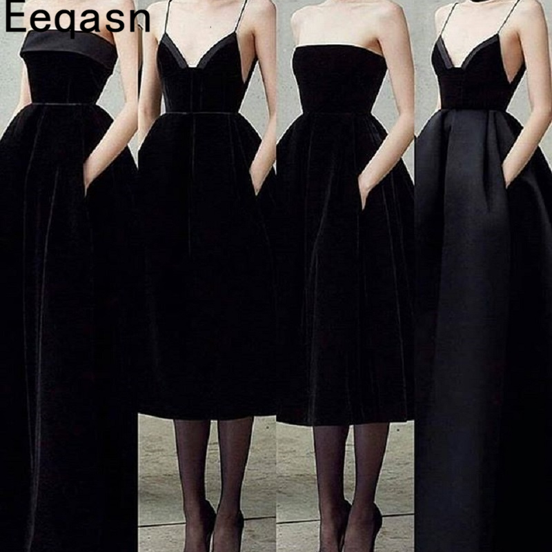 Elegant Black Velvet Cocktail Dress Knee Length Strapless A Line Women Party Gown Homecoming Graduation 2020 Vestidos Coptel