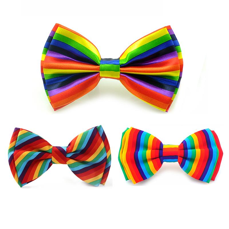 Fashion Ties For Men Rainbow Vertical Stripe Colorful Oblique Stripes 3 Color Tuxedo Dress Bow Tie Wedding Party Tie Butterfly