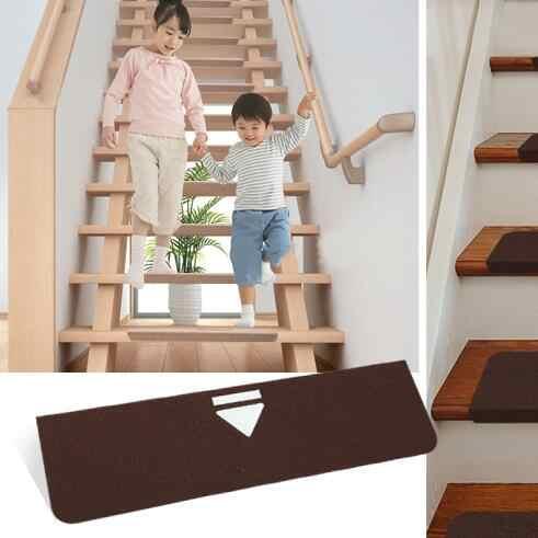 6Pcs Luminous Carpet Stair Mats Self Adhesive Stairs Carpet Non | Dark Carpet On Stairs | Gray | Monochrome | Wall | Modern | Metal Bar On Stair