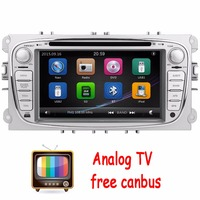 Analog TV 2Din In Dash Car DVD Player FOR Mondeo Focus 2012 2015 Dual Core GPS Navigation Radio Steering wheel control+CANBUS