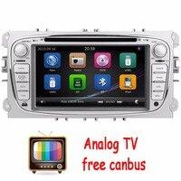 Tv analógica 2din en el tablero de coches reproductor de dvd para el mondeo focus 2012-2015 dual core gps de navegación de radio de dirección control de la rueda + canbus