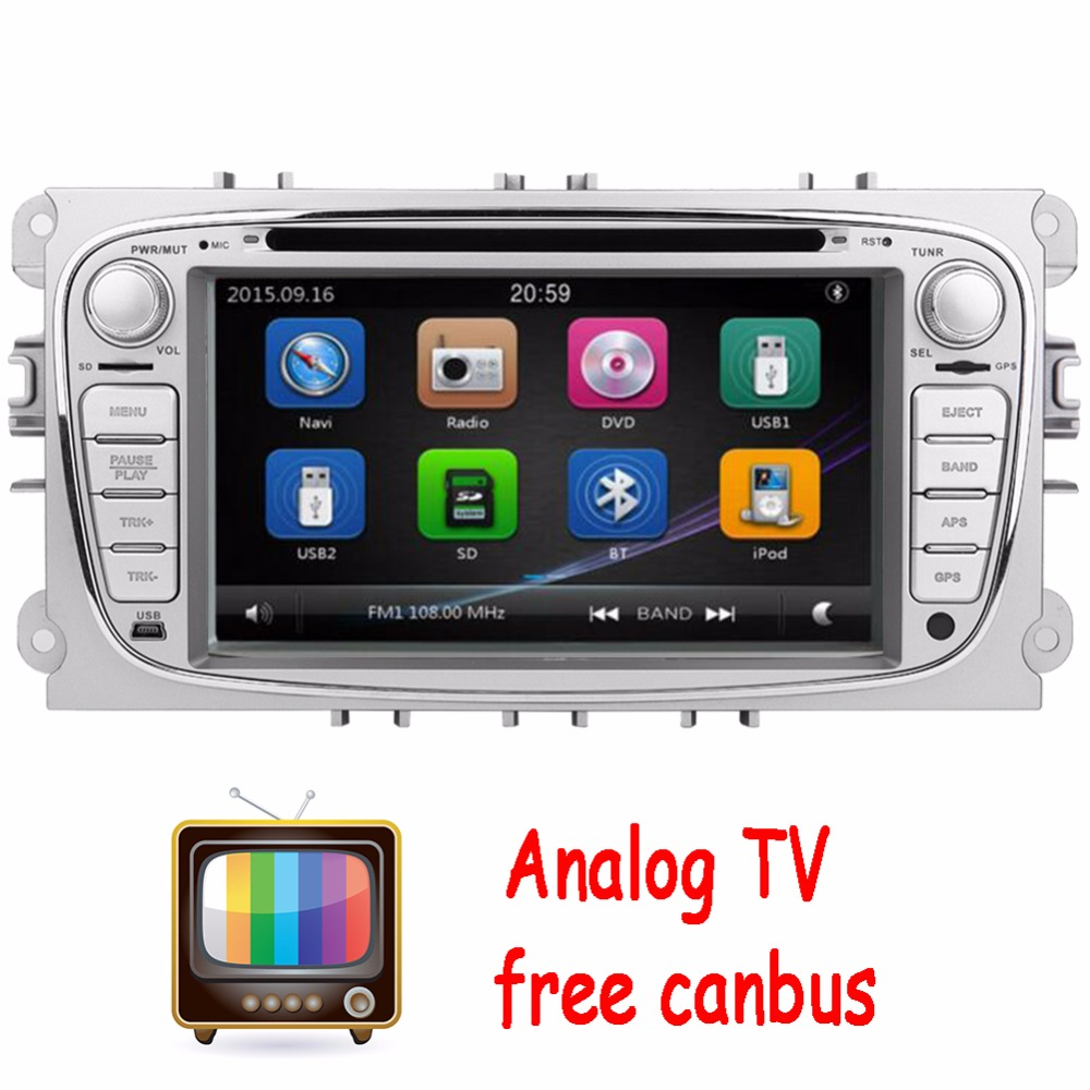Analog TV 2Din In Dash Car DVD Player FOR Mondeo Focus 2012-2015 Dual Core GPS Navigation Radio Steering wheel control+CANBUS lsqstar 7 car dvd player w gps radio aux swc 6cdc tv canbus dual zone for mitsubishi pajero montero