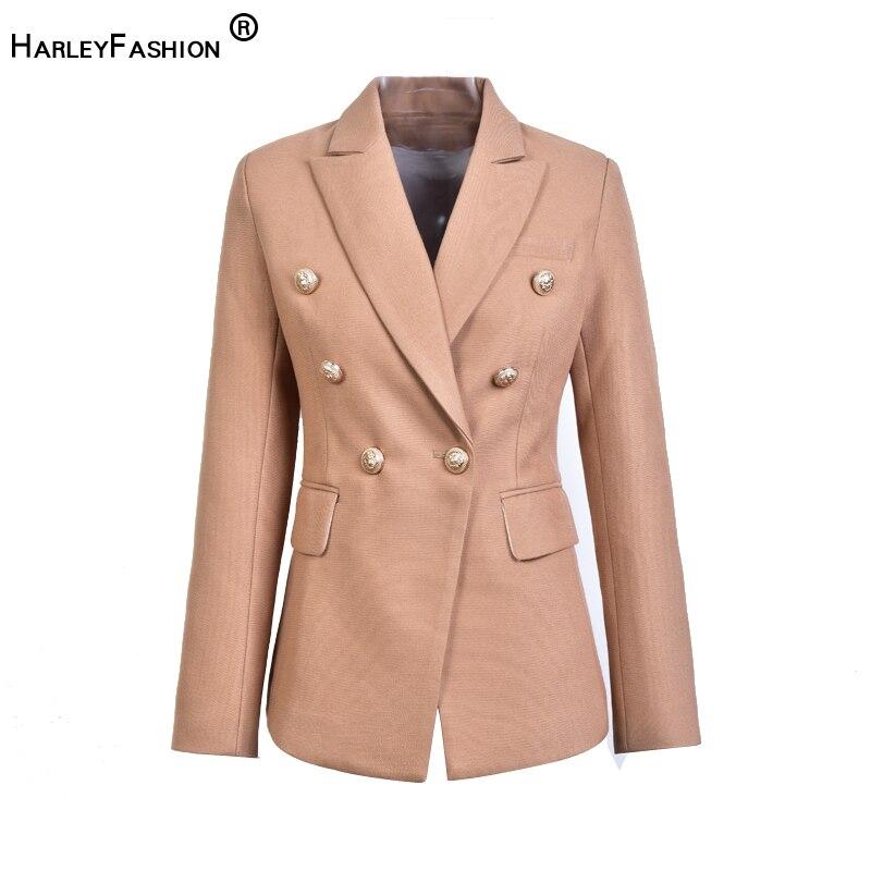 HarleyFashion ยุโรปสบายๆบางฟิตเนสโลหะทองปุ่มสีขาวสีดำสีกากีสีหญิง Blazer-ใน เสื้อเบลเซอร์ จาก เสื้อผ้าสตรี บน   1
