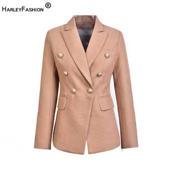 HarleyFashion European Casual Slim fitness Metal Gold Button Jacket White Black Khaki Colors Female Blazer - DISCOUNT ITEM  18% OFF All Category