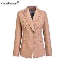 Harleyfashion europeu casual fino fitness metal botão de ouro jaqueta branco preto cáqui cores blazer feminino