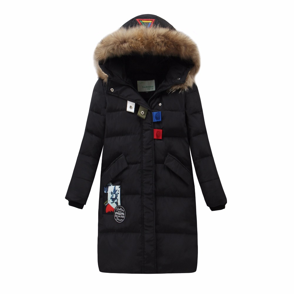 Winter Warm Kids Down Jackets for Baby Girls Fashion Down Coat Hooded Jacket Outerwear Thicken Natural Fur Collar Overcoat women winter coat jacket 2017 hooded fur collar plus size warm down cotton coat thicke solid color cotton outerwear parka wa892
