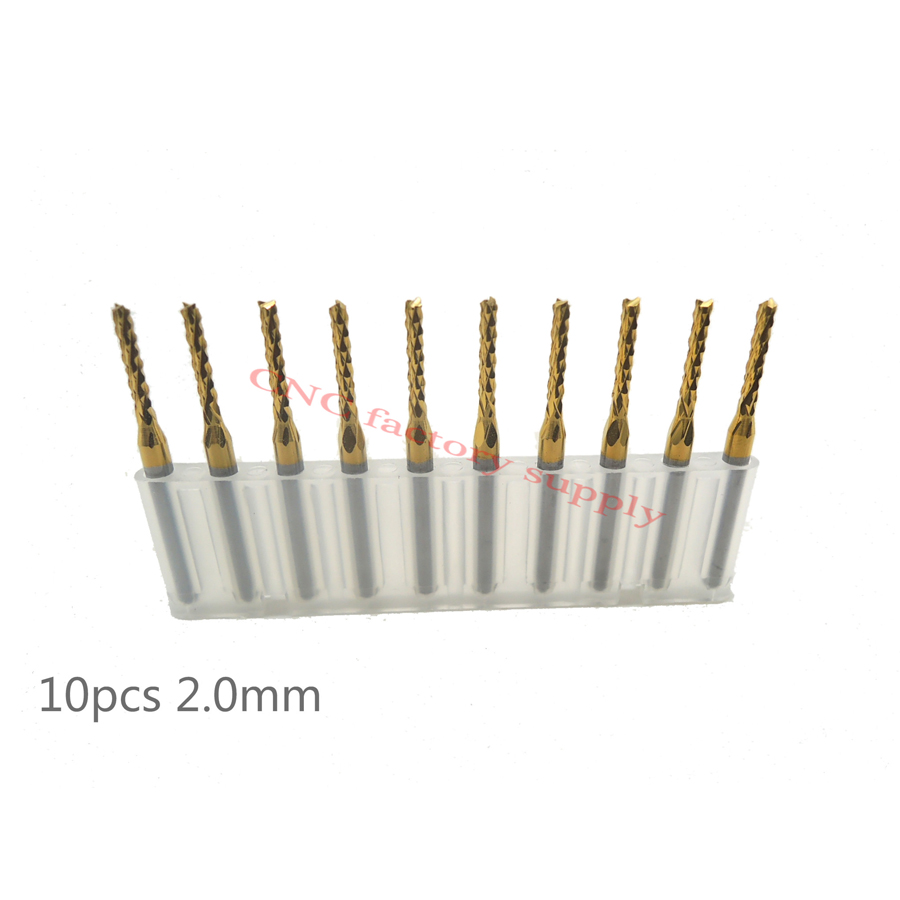 Free shipping High quality 10pcs / lot Titanium Nitride Coated Carbide PCB CNC milling cutter 2.0mm 1.0/1.5/2.5/3.0/0.8/1.6/1.2 new brand rc helicopter repair tools titanium nitride tini hex driver wrench 4pcs high quality free shipping