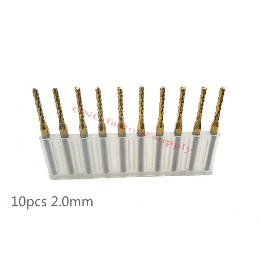 Free shipping High quality 10pcs / lot Titanium Nitride Coated Carbide PCB CNC milling cutter 2.0mm 1.0/1.5/2.5/3.0/0.8/1.6/1.2