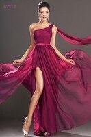 Бордовые вечерние платья 2019 оболочка одно плечо шифон сексуальный разрез плюс размер длинное вечернее платье Выпускные платья Robe De Soiree