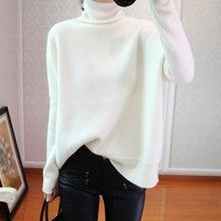 BELIARST 2018 Autumn and Winter New Cashmere Sweater Women's High Collar Loose Pullover Sweater Bottoming Knit Bat Shirt XL