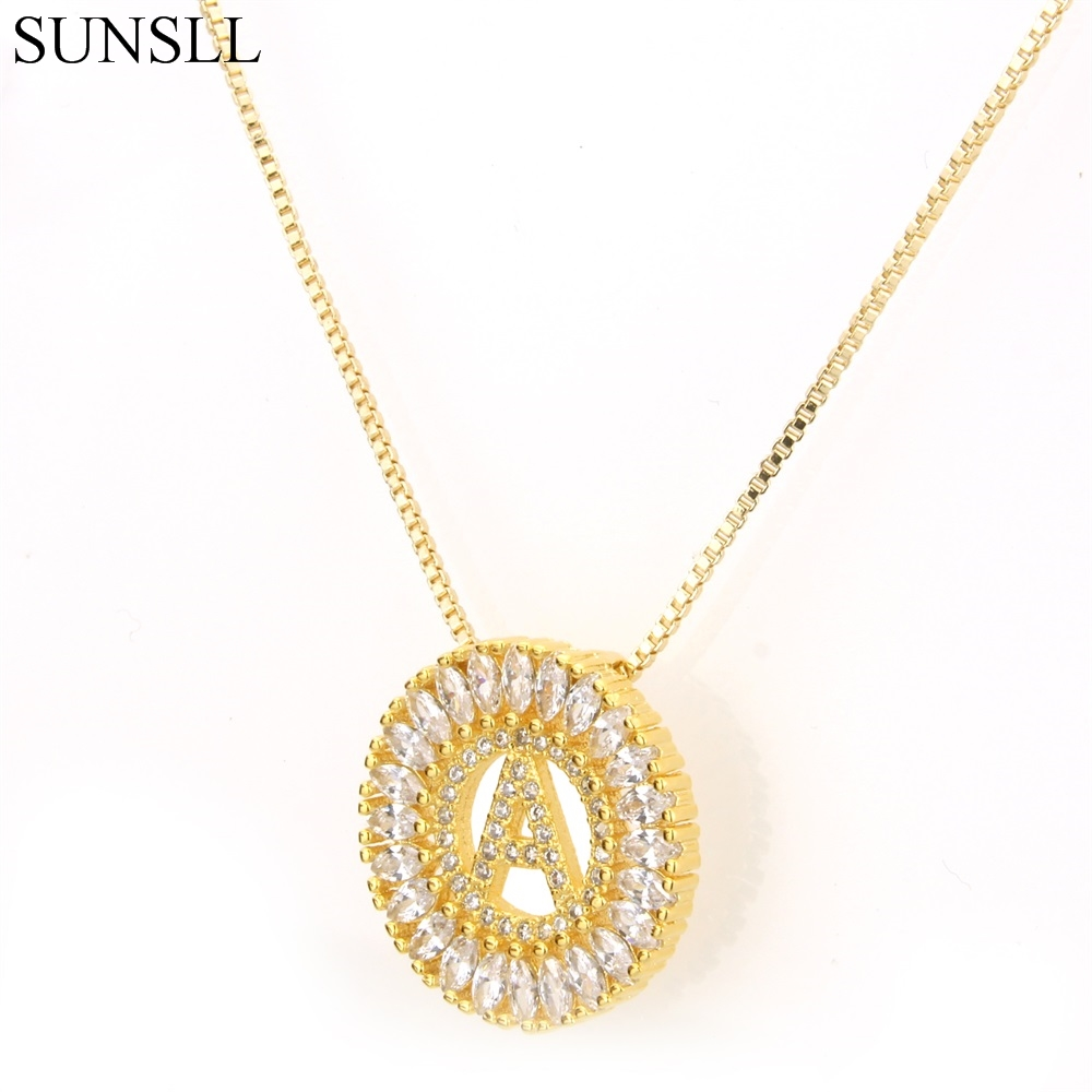 SUNSLL Golden Color Copper Cubic Zirconia 26 Word English Le