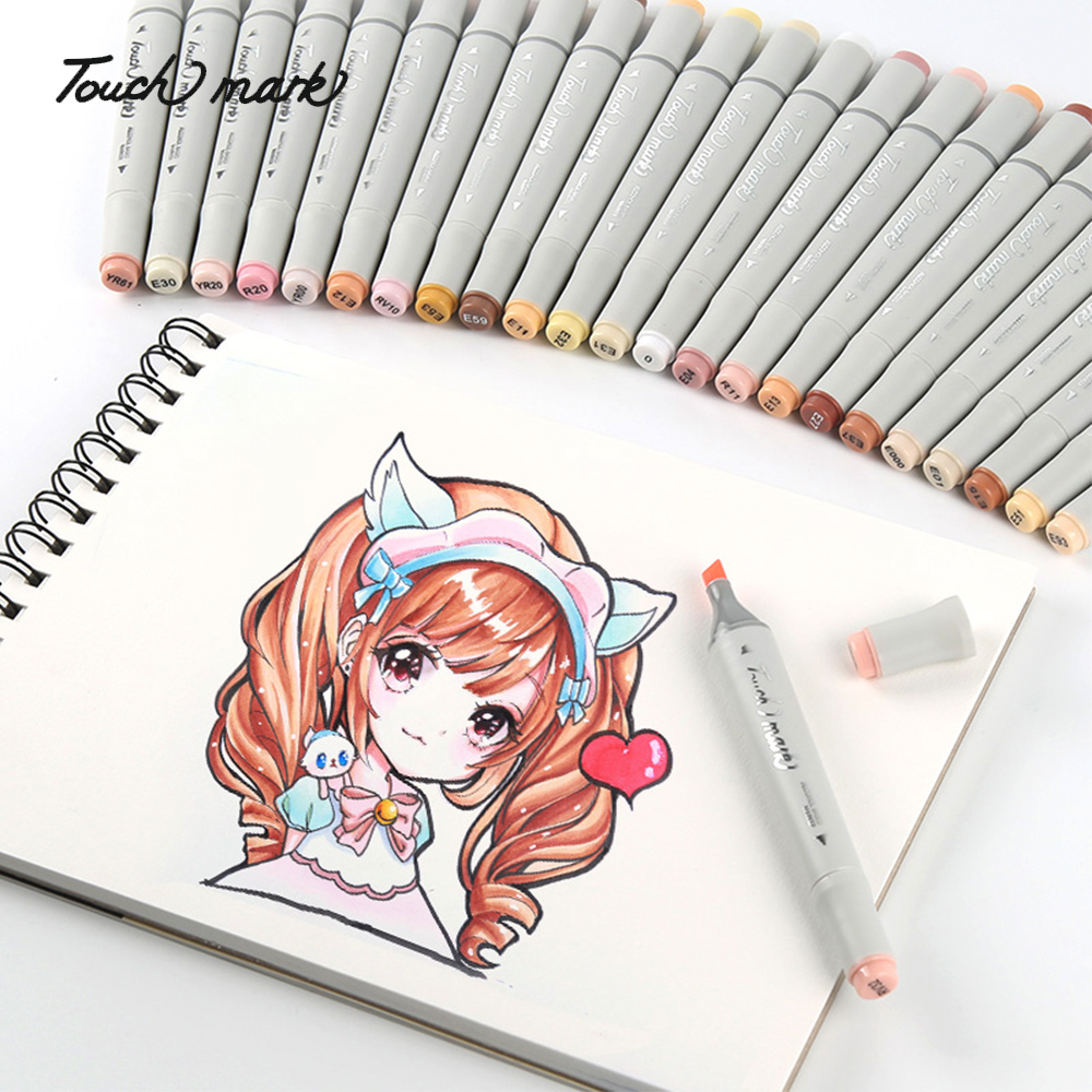 TouchMark 24 Colors Character Skin Color Markers Pen Set Dual Headed Oily Alcohol Based Sketching Markers For Animation  Art Sup