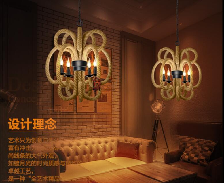 American style retro Hemp rope industrial pendant lights Vintage Loft Creative art Bar Stores Coffee Tea shop restaurant lamp vintage loft industrial american country black spider lamp hemp rope pendant lights for coffee shop dinning room