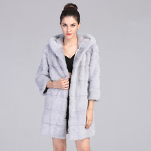 AAA Real Mink Fur Coat with Hood for Women Light Grey  Long Mink Fur Jacket Natural Mink Fur Parka 2016 New