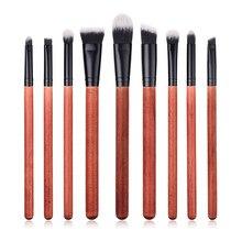9pcs/set Makeup Brushes set red wood Eyeshadow Eyebrow Blending Eyeliner Lip Brushes Cosmetic Tools Set Pinceis Maquiagem T09008