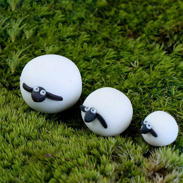 White Sheep Family Miniature Figurine Bonsai Decoration Fairy Garden Statue  Model Animal Resin Craft Toy Figure