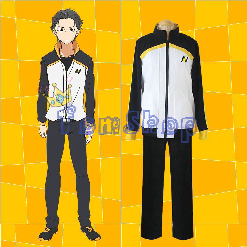 Re: Zero kara Hajimeru Isekai Seikatsu Subaru Natsuki Cosplay Costume Jacket Coat & Long Pants Suit Sportswear Uniform