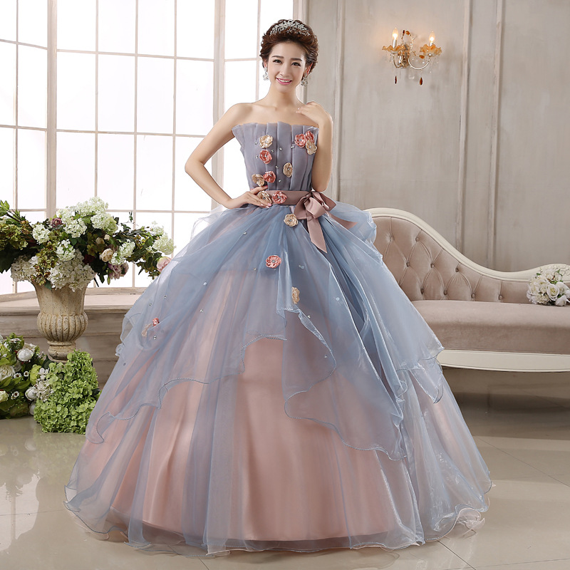 Robe de bal de jeunesse colorée robes sans bretelles épaule Sexy Quinceanera robes avec Appliques de fleurs