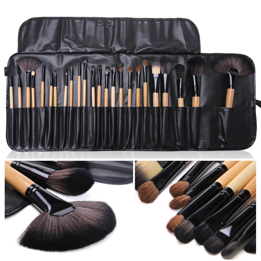 JS Professional 24 pcs Makeup Brush Cosmetic Make Up Brush Set tools Make-up Toiletry Kit Wool brush with Bag Wool Make Up Case msq make up bag pink and portable cosmetic bags for professional makeup artist toiletry case new arrival