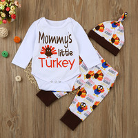 Newborn Infant Baby Girl Letter Romper Long Sleeve Tops Pants Hat Thanksgiving Outfits Set Clothing Sets