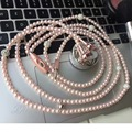 Luxury Diamond Pearl Necklace Chain Earphone hand free Hi-Fi Wired Stereo headset For Smart Phone/iphone