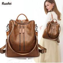 купить Fashion Design Women Backpack High Quality Youth Leather Backpacks for Teenage Girls Female School Shoulder Bag Bagpack mochila по цене 1680.38 рублей