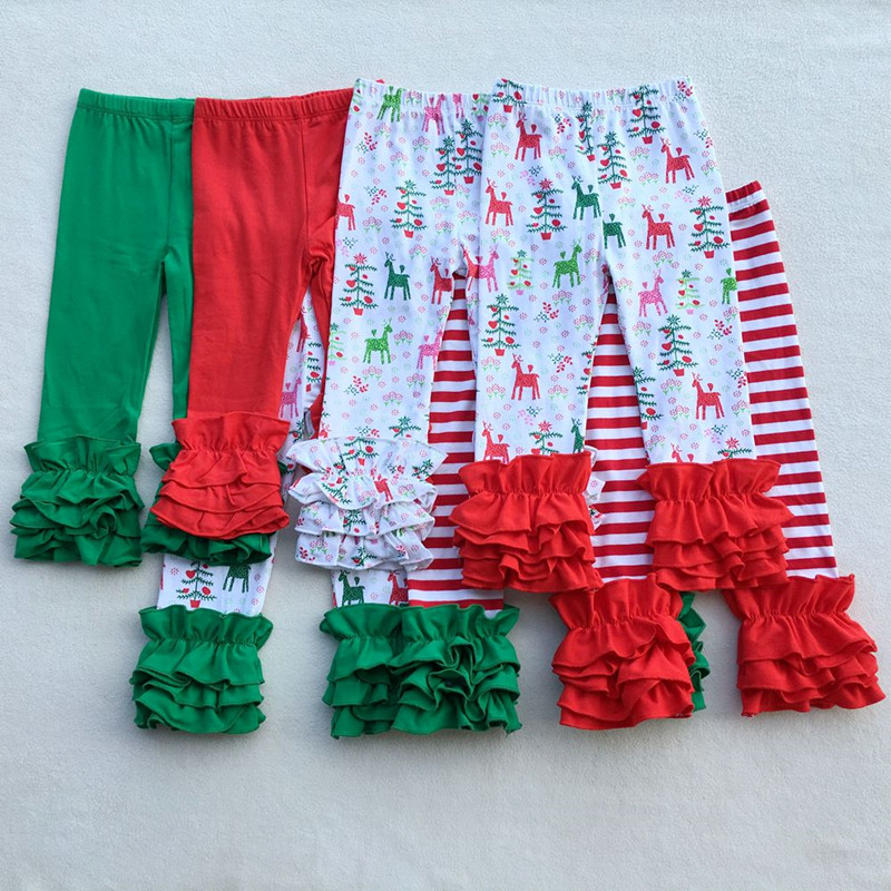 fd3211a09b79d Christmas Baby Girls Pants Icing Ruffle Baby Girls Legging Reindeer Print  Elastic Pants Ready To Ship Christmas Cloth