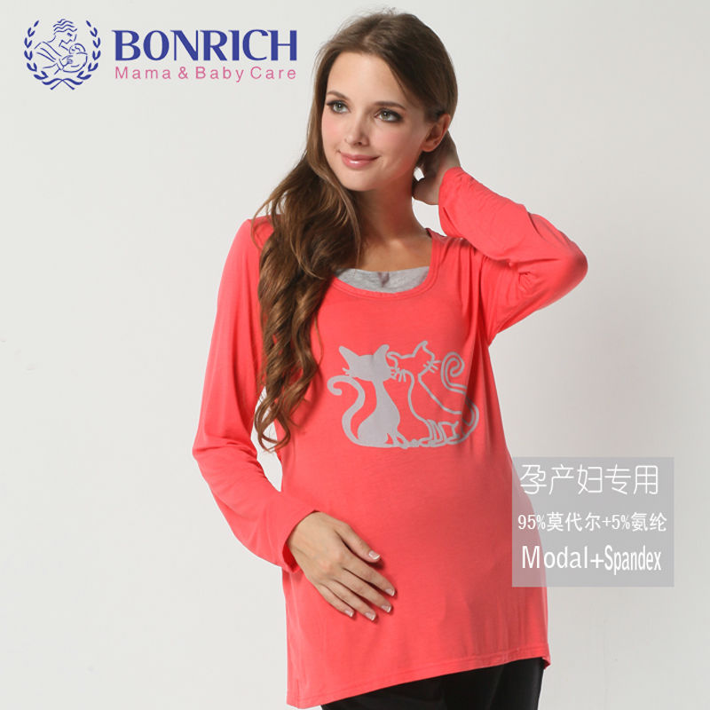 2017 Maternity Autumn Modal long Sleeve tee Letter print tops Cat pattern comfortable soft t-shirt Japanese stylish plus size
