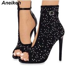 Aneikeh с украшением в виде кристаллов Для женщин женские туфли-лодочки на высоком каблуке; фирменный дизайн; пикантные босоножки-гладиаторы на высоком каблуке; Для женщин Стразы Туфли с ремешком и пряжкой обувь для вечеринок 41, 42, 43