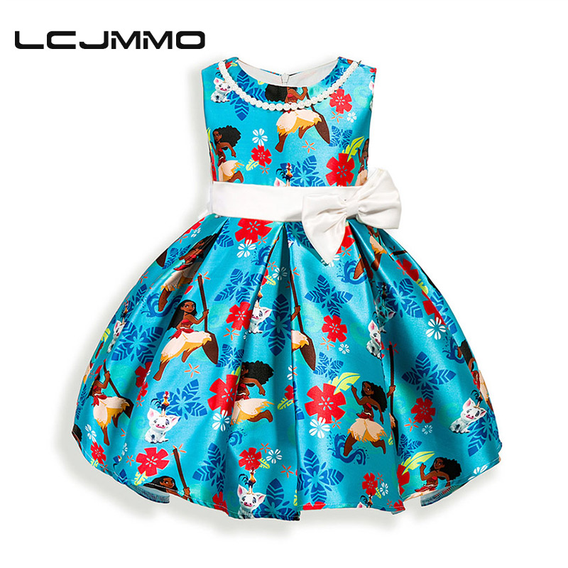 LCJMMO new style summer baby girl print cartoon girl dress for girls party princess dress Bead chain bow dress for 2-6 Years lcjmmo new girls party dresses summer 2017 brand kids bow plaid dress princess costumes for girl children clothes 2 7 years