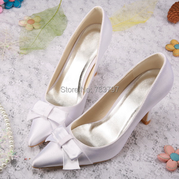 New Model European White Satin Pointed Toe Bridal Shoes Wedding Footwear