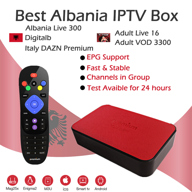 US $140 0 |Best Albanian IPTV Box TVOnline+ Amlogic S905X Bluetooth WiFi 4K  H 265 Digital Albania 300Live DAZN Adult Hotclub Media Player-in Set-top