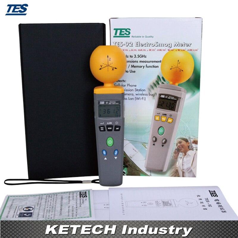 TES92 Digital EMF Radiation ElectroSmog 3-axes Isotropic EMF Meter 50MHz to 3.5 GHz