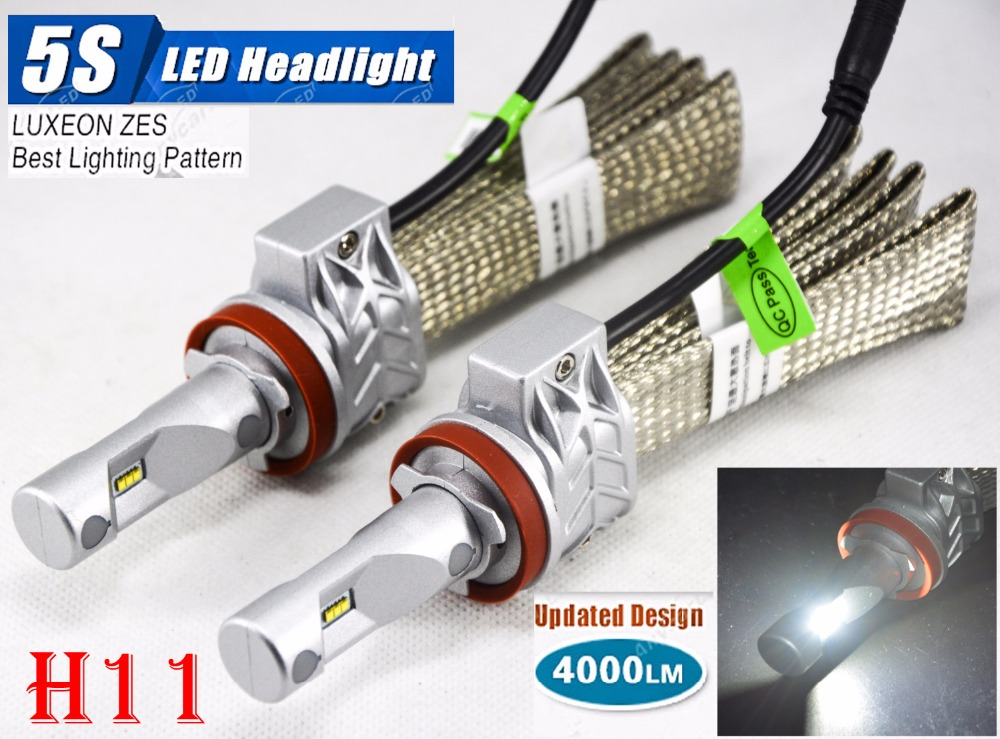 1 Set H11 50W 4000LM 5S LED Headlight Kit LUMILED LUXEON ZES 12LED SMD Chip Fanless 6500K Driving Fog DRL Lamp Bulb Repl HID Hal 1 set 9012 hir2 50w 4000lm 5s led headlight kit lumiled luxeon zes 12led smd chip fanless 6500k driving fog lamp bulb hid haloge