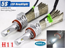 1 Set H11 50W 4000LM 5S LED Headlight Kit LUMILED LUXEON ZES 12LED SMD Chip Fanless 6500K Driving Fog DRL Lamp Bulb Repl HID Hal