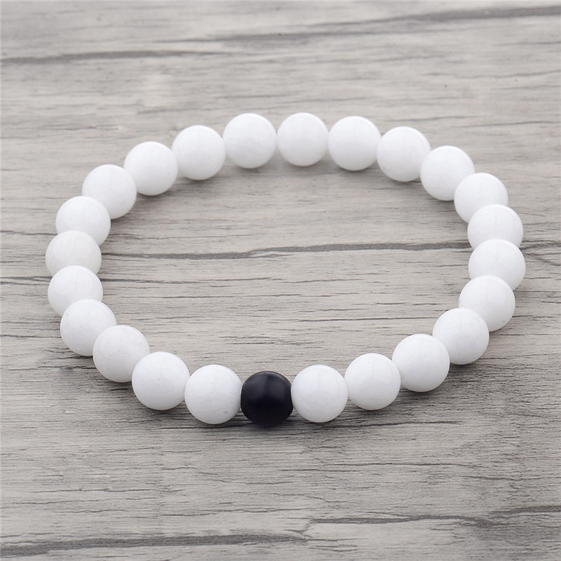 New Hot Black and White Natural Stone Distance Bracelets for Women Men Strand Bracelets & Bangles Lovers Gifts Jewelry