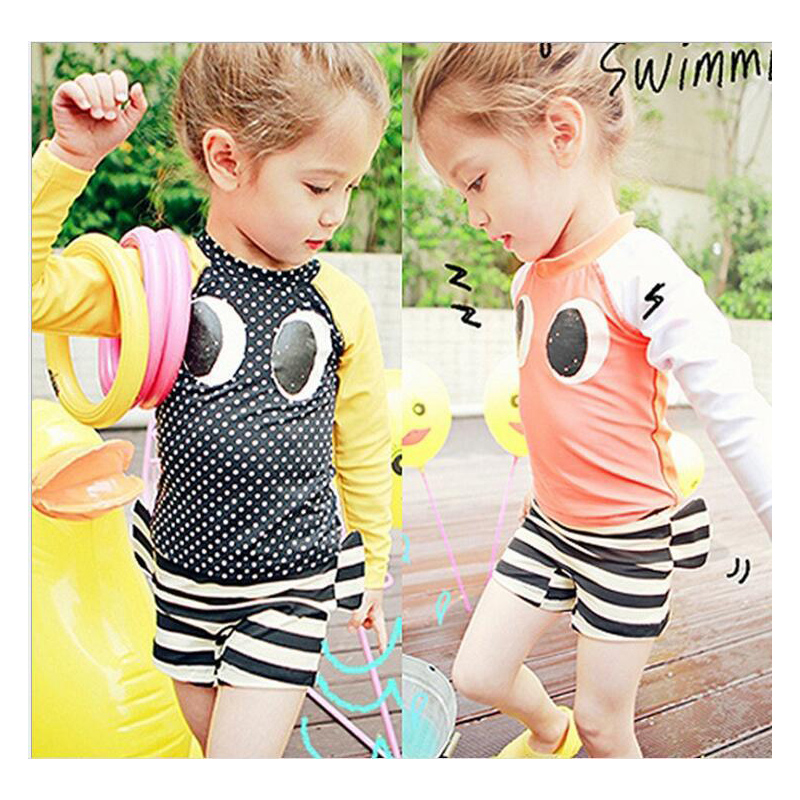 Summer New Kids Swimwear Two Pieces Lovely Big Eyes Baby Girls Swimsuit Nylon Bathing Suit Polka Dot Sun-protection Beach Suit