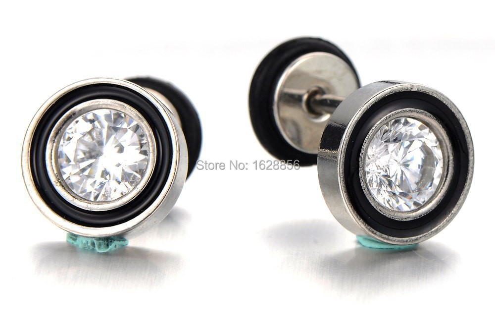 Pair Cubic Zirconia Fake Plug Earring Gauge Mens Ear Gauges Cheater Tunnel Earrings With Stones In Stud From Jewelry