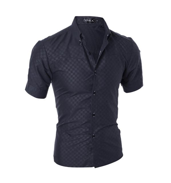 2016 Hot & NEW verão homens Magros da manta de manga curta camisas de vestido plus size XXXL homem da aptidão camisas casual masculino camisa CH485