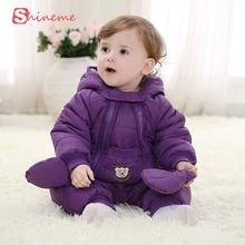 Ребенок зимний Комбинезон пальто одежда толщиной теплая одежда новорожденный вне восхождение Ребенка Ползунки набор мальчик костюмы с длинным рукавом в шляпе